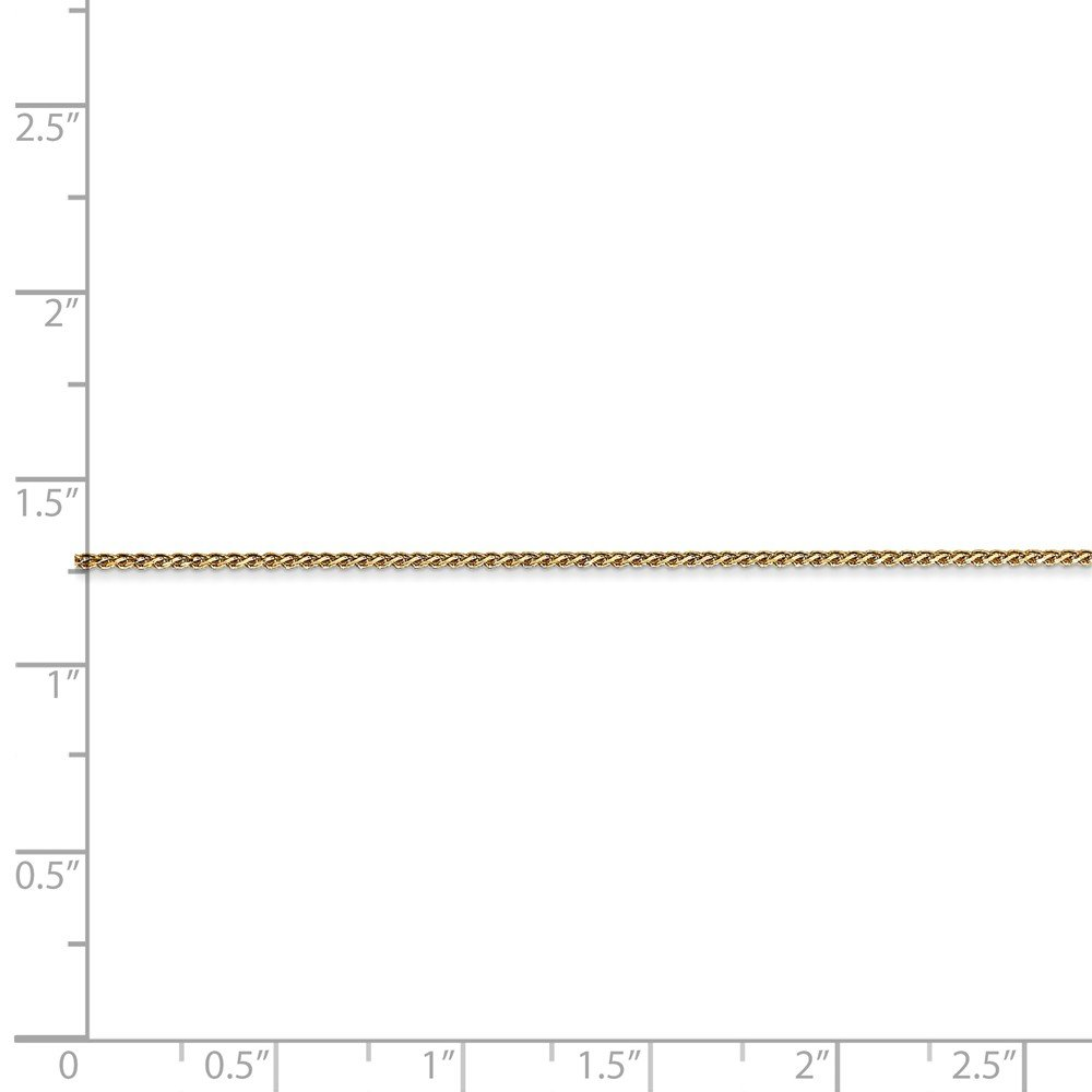 14K Yellow Gold Unisex Kids 1.00MM Diamond-Cut Spiga Wheat Link Chain Necklace
