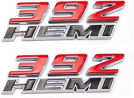 CARRUN 2pcs Car Emblem For OEM 392 Hemi Emblem Fender Side Badge Sticker Replacement for Challenger Chrysler 300c 3500 (Matte Black)