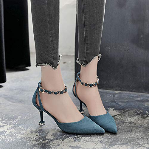 Pointed Shoes Buckle Autumn Stiletto Single Hollow Wild Yukun Heels High heels Word Women Shoes Thin Was Blue tqwBnFH
