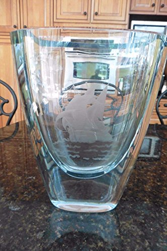 Vtg Stromberg Etched Ship Nautical Scandinavian Glass Crystal Vase Signed Thick