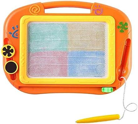 Txyk Pizarras Mágicas Colorido con Pluma, Almohadilla Borrable de Escritura y Dibujo, Juguetes Educativos para niños 2 años 3 años 4 años (Naranja)