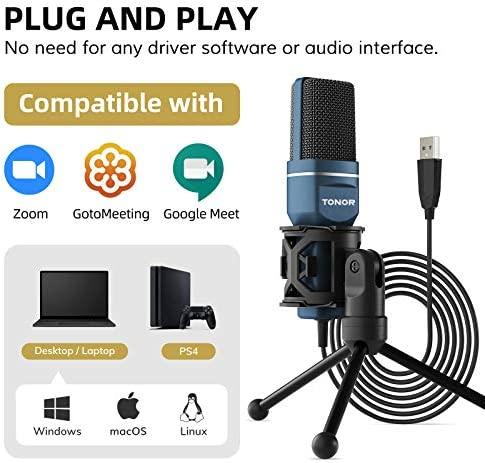 USB Microphone, TONOR Computer Condenser PC Gaming Mic with Tripod Stand & Pop Filter for Streaming, Podcasting, Vocal Recording, Compatible with Laptop Desktop Windows Computer, TC-777