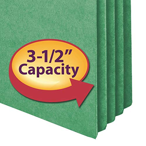 """Image of Smead File Pocket, Straight-Cut Tab, 3-1/2"""" Expansion, Legal Size, Green, 25"""