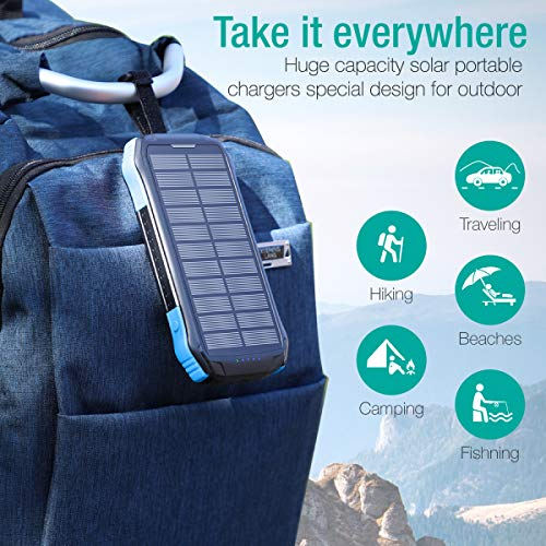 Power Bank, Soxono Solar Charger with Qi Wireless Charger and 2 USB Port Ultra Waterproof Portable Phone Charger 16000mAh External Battery Pack with 15 LEDs Flashlight for iPhone, iPad, Samsung