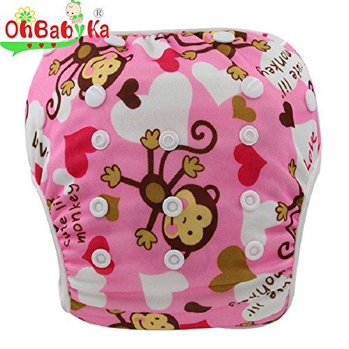 OHBABYKA One Size Washable Swim Diaper Pool Pant Cute Monkeys (Pink Monkey) Cavalli Kids OBYK55