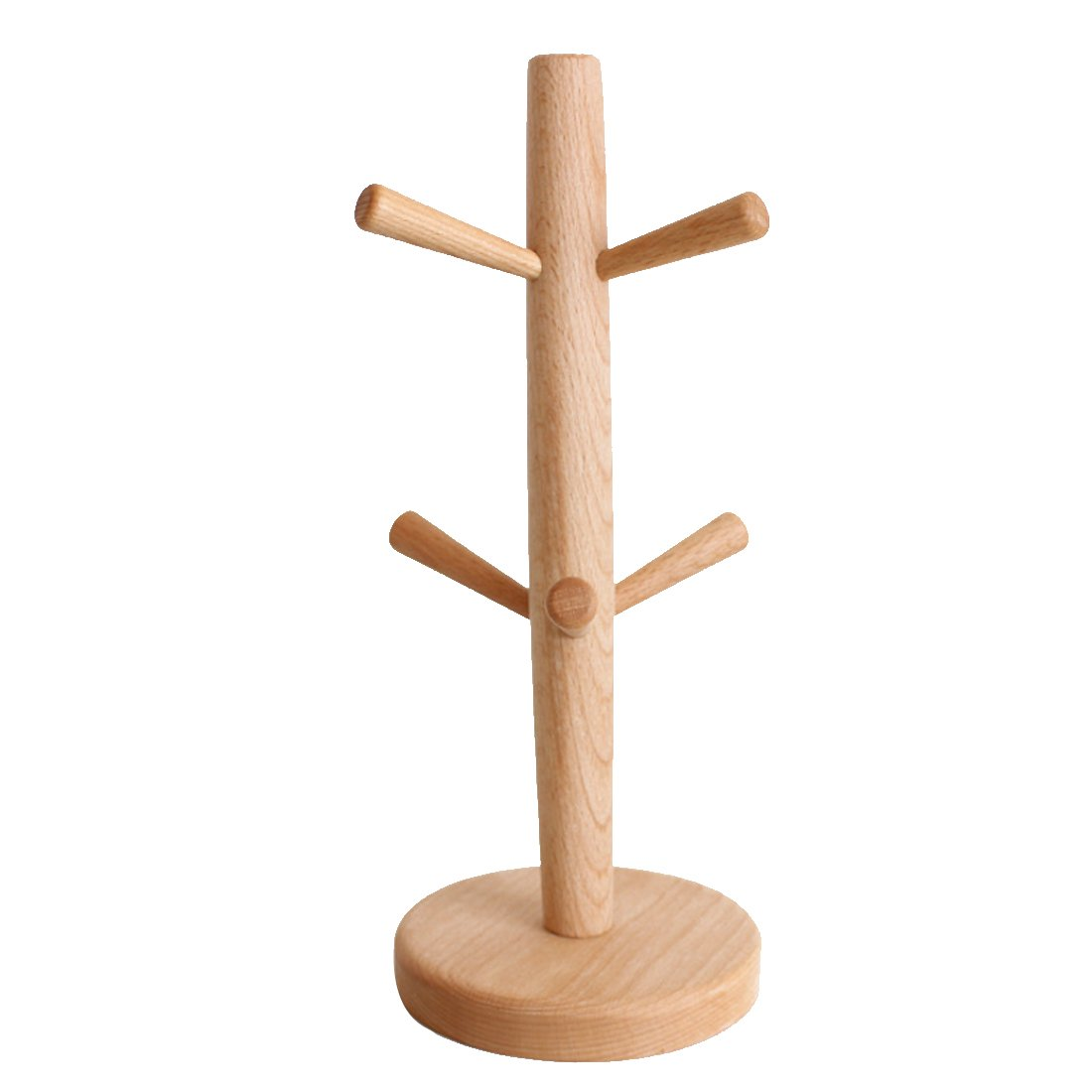 Haoun Wood Mug Rack Tree Storage Cup Organizer Holder with 6 Hooks-Round Base