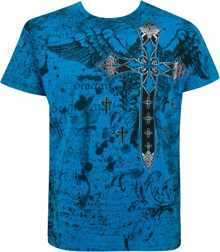 TG567T Metallic Silver Embossed Cross Short Sleeve Crew Neck Cotton Mens Fashion T-Shirt - Turquoise / - Jersey Stores Shore Outlet