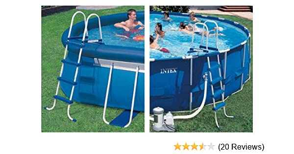 Amazon.com : INTEX Above Ground Swimming Pool Ladder w/ Barrier - 48 ...