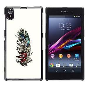 Ihec Tech Pluma blanca Aves artístico Rojo trullo / Funda Case back Cover guard / for Sony Xperia Z1 L39