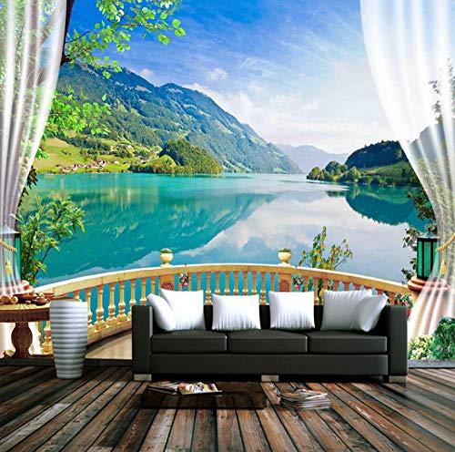 (Mural Wallpaper Wall Murals Waterproof Canvas Self-Adhesive Sticker Mural 3D Window Balcony Nature Landscape Photo Wallpaper Living Room-200x300cm)