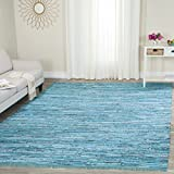Cheap Safavieh Rag Rug Collection RAR125C Hand Woven Turquoise and Multi Cotton Area Rug (6′ x 9′)