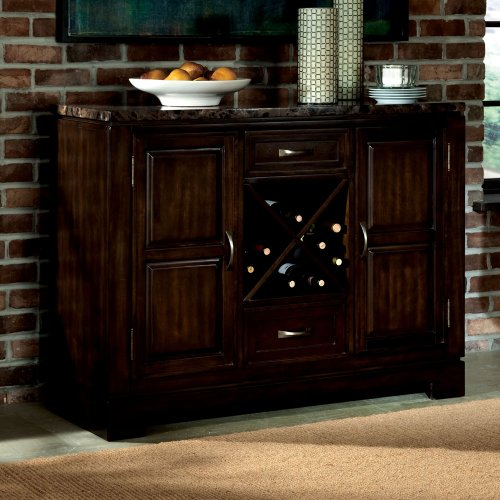 16842 Bella Server with Marbella Top in Deep Brown (Hutch And Bar)
