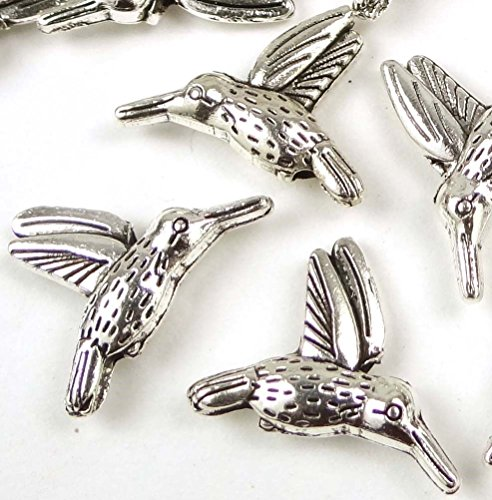 Pewter Beaded Bracelets - Loose Beads 20 Hummingbird Flying Bird Charm Silver Pewter Beads 18x14mm Jewellery Maker Crafts