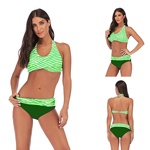 Beautiful - Fashion Women's Sexy Detachable Padded Cutout Push Up Striped Bikini Set Two Piece Swimsuit -