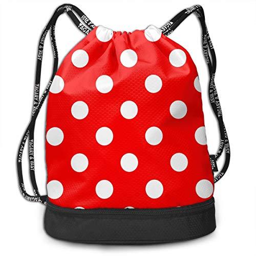 (Polka Dot Red Large Drawstring Backpack Bag Sports Athletic Cinch Sack Gymsack Sackpack for Shopping Travelling Sport Yoga)