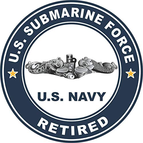 - US Navy US Submarine Force Retired Silver Dolphins Military Veteran Served Window Bumper Sticker Vinyl Decal 3.8