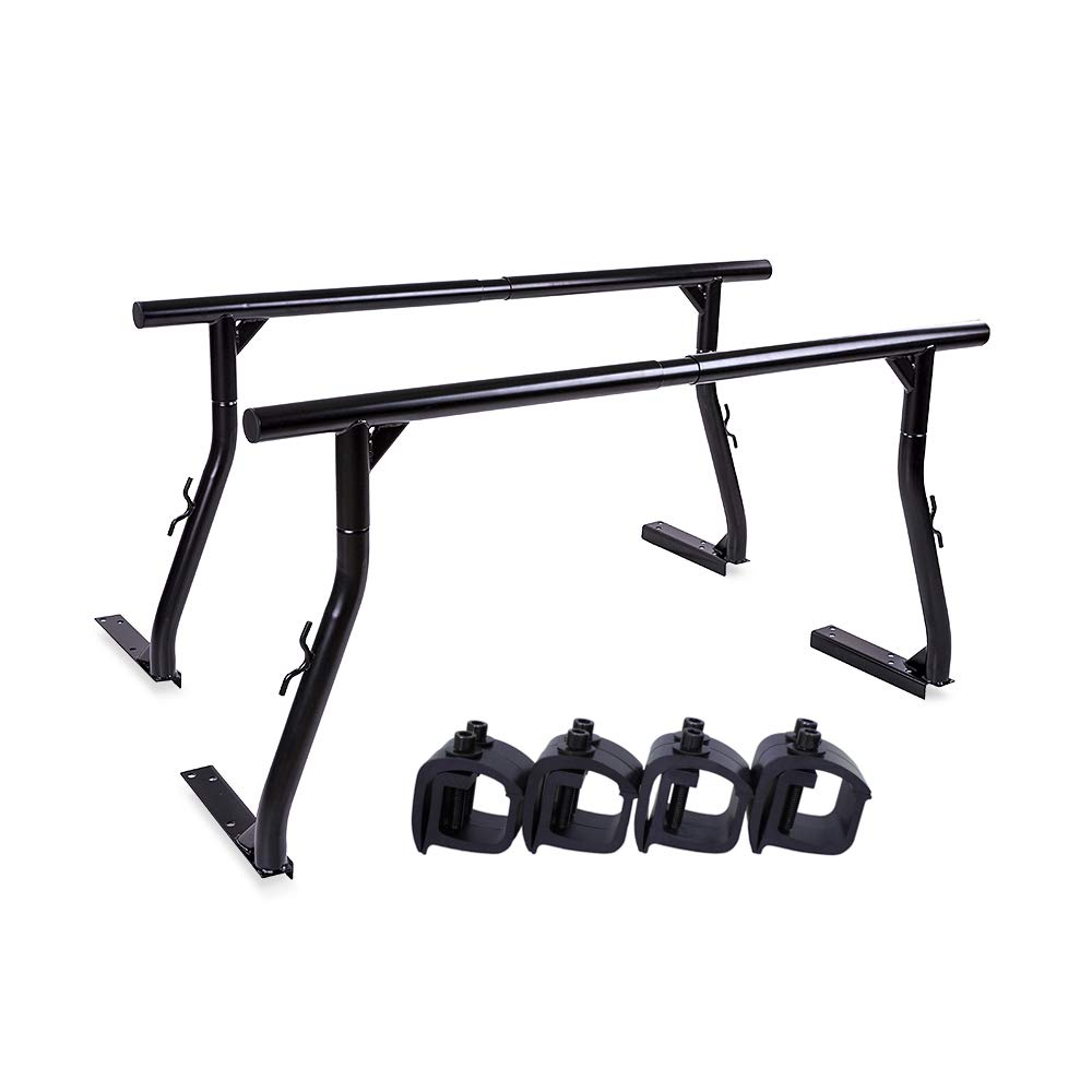 AA-Racks Model X3502 800Ibs Capacity Extendable Steel Pick-Up Truck Ladder Rack with (8) Non-Drilling C-Clamps Two-bar Set - Matte Black
