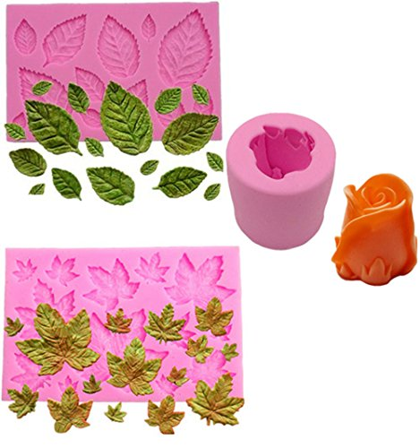 Efivs Arts 3 pcs 3D Mini Maple Leaf Mini Rose Leaves 3D Rose Shaped Silicone Mold Fondant Mold Cupcake Cake Decoration Tool Soap Mold Candle DIY Mold ()