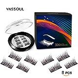 Beauty : Vassoul 8 Pcs Magnetic False Eyelashes, 3D Fiber Reusable Best Fake Lashes, Natural Handmade Extension Fake Eye Lashes (8 Pieces)