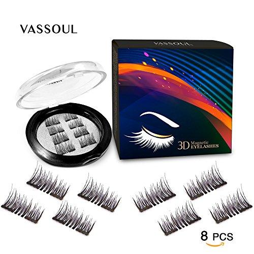 Vassoul 8 Pcs Magnetic False Eyelashes, 3D Fiber Reusable Best Fake Lashes, Natural Handmade Extension Fake Eye Lashes (8 Pieces)