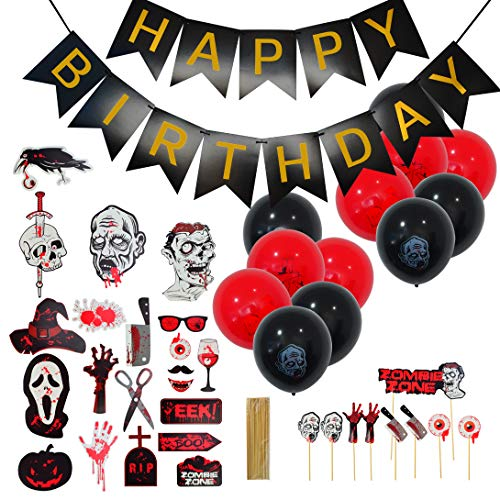 Topbuti Halloween Zombie Themed Happy Birthday Decoration Kit Halloween Party Supplies Included Black & Red Latex Balloons + Happy Birthday Banner + Cake Toppers +Halloween Scary Photo Booth Props