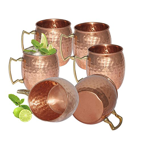 Avs Stores Pure copper hammered cup Moscow Mule Set of 6 (Moscow Mule Cup Set)