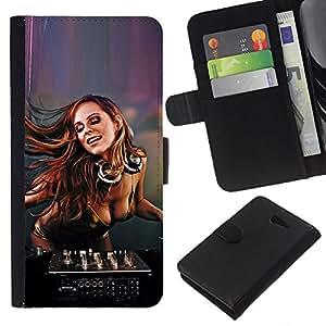 YiPhone /// Tirón de la caja Cartera de cuero con ranuras para tarjetas - SEXY DJ CHICA - Sony Xperia M2