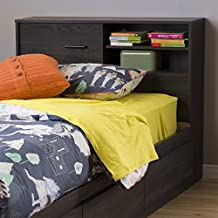 South Shore Furniture Fynn 39-Inch Headboard with Storage, Twin, Gray Oak