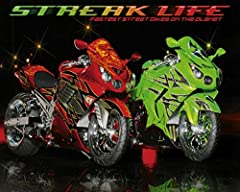 Streak Life Red Green Custom Sport Bikes Motorcycle Cool Wall Decor Art Print Poster 20x16