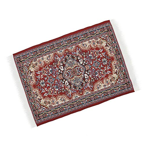 NATFUR 1:12 Scale Dollhosue Miniature Red Patterned Floor Rug Carpet Accessory