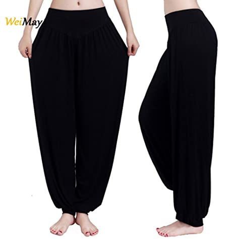 Weimay Yoga Pantalones Pantalones Largos Baggy Pantalones Elásticos para Mujeres