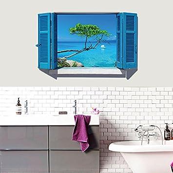 3d Méditerranée orientale bleu fenêtre fausse Vista chambre ...