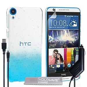 Yousave Accessories HTC Desire 820 diseño de gotas carcasa rígida con Cable Micro USB y cargador de coche - azul/transparente