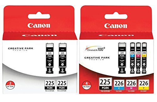 Genuine Canon PGI-225/CLI-226 Ink Tank Combo Pack (4530B008) + Canon PGI-225 Black Ink Cartridge Twin Pack (4530B007) (Canon Pgi 225 Black Twin Pack Ink Cartridge)