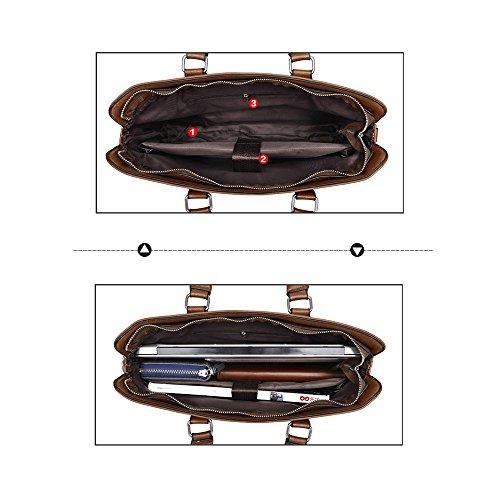 (JN3009-K) Bolso de cuero para hombres Bolso de 3 maneras Bolso bandolera A4 Bolso impermeable Bolsa de cuero genuino Intercambio Negro