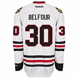 Ed Belfour Chicago Blackhawks NHL Reebok Men's White Premier Away Jersey