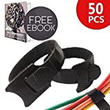 50 pcs 8 Inch Cable Management with Premium Nylon Strap Reusable Extendable Hook and Loop Wrap | Messy Wire Fastening Cable Ties Cord Manager Ultimate Organizer | Include Ebook | Black