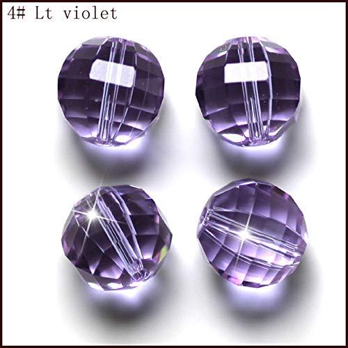 Calvas 100PCS/Bag AAA3 10mm Facet Round Jewelry Accessories Crystal Beads DIY Wholesale - (Color: lt Violet, Item Diameter: 10mm)