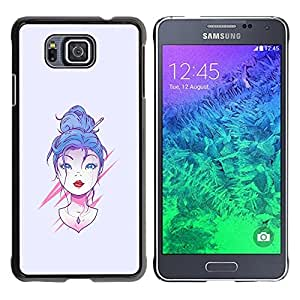 Stuss Case / Funda Carcasa protectora - Chica de pelo azul - Samsung ALPHA G850