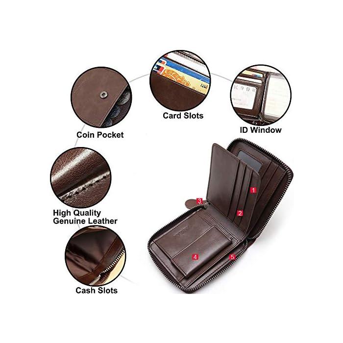 51lUuZI 6rL 1.Bloqueo RFID Tecnología: esta RFID cartera hombre pequeña está equipada con tecnología de RFID, que puede proteger su información personal; Faneam cartera de cuero para hombre está hecha de cuero original, el material es muy suave y tiene un diseño clásico. 2.Estructura Excelente: esta RFID billetera hombre pequeña viene con 1 bolsillo principal para efectivo, 8 ranuras para tarjetas(incluyendo 2 ventana de ID), Además, la cartera contiene un monedero con boton de acero inoxidable. El Faneam cartera hombre piel los hombres debe ser perfecto para sus necesidades diarias, especialmente cuando viaja. 3.Regalos Ideales para Hombres: las monedero hombre pequeño vienen con una exquisita caja de regalo; Le proporcionaría mucha comodidad, no las encontrará en muchas carteras. Regalo ideal para cualquier caballero como regalos en cumpleaños, San Valentín, Aniversarios, día del padre, día de acción de gracias, Navidad.