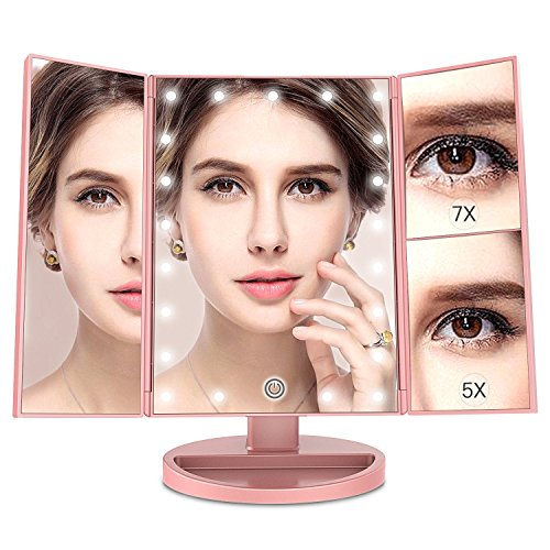 MayBeau Makeup Vanity Mirror with 7X/5X Magnification,Trifold Mirror with 21 LED lights,Touch Screen,180 Degree Adjustable Rotation,Dual Power Supply,Countertop Cosmetic Mirror by BESTOPE