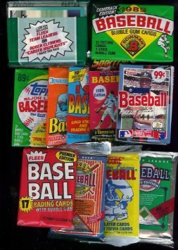 25 Original Unopened Packs of Vintage Baseball Cards (1980s-1990s) . Includes a Bonus New York Yankees Babe Ruth 100th Anniversary Collector's Pin from various