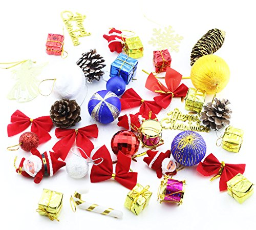 Etmact About 40Pcs Christmas Tree Ornaments Hanging Decoration Pendant Kit Including Christams Balls, Bowknots, Gifts Ornaments, Christmas cones, Drums and More