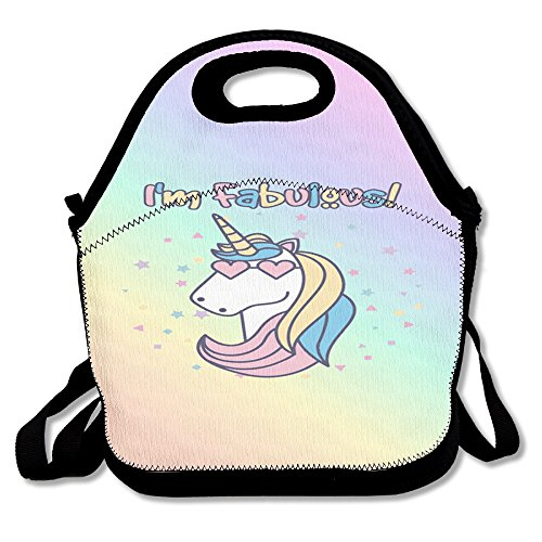 Unicorn Horse Funny Insulated Heating Polyester Strap Women Men Kids Girls Black Lunch Bag Tote Lunch Box For Outdoor Work