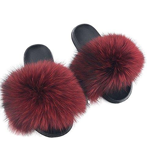 Raccon Womens Red Flat Slippers Slides Shoes Dark Summer Fur Luxury Real Yu Indoor Soles Li Soft Outdoor qaH5RwII