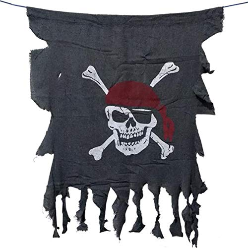 WuHu Ren Store Halloween Decorations, Pirates of The Caribbean Red Head Scarf Pirate Flag Flag Hanging Ornaments, Ghost Bar Props Decorations for - Pirate Hanging Prop