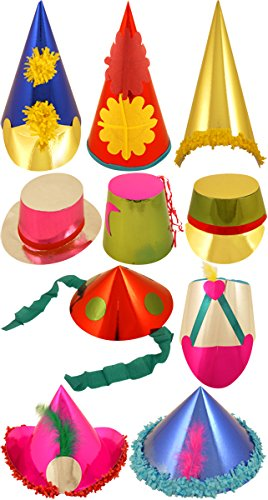 50 NOVELTY CARNIVAL FOIL PAPER PARTY HATS ASSORTED COLOURS & DESIGNS CONE ADULT Range Wholesale