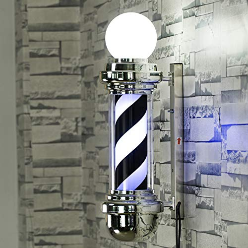 LZX 68Cm LED Barbero Polo 27Cm Blanco Negro Giratorio Franjas Iluminantes Impermeable Luz Peluquería Tienda Regístrate...
