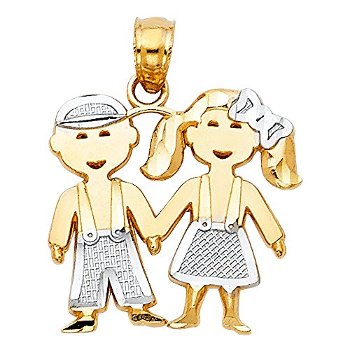 14k Two Tone Gold Boy & Girl Charm Pendant - Gold Girls Charm