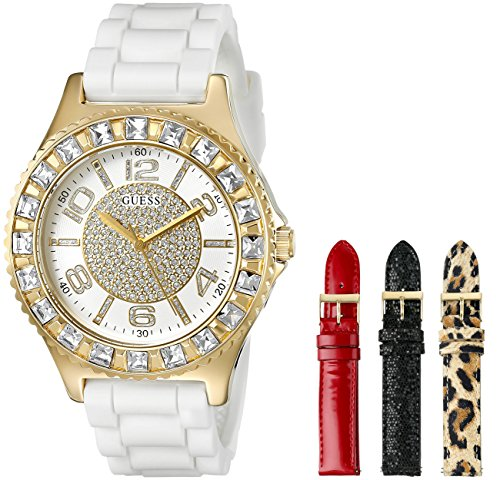 guess-womens-u0714l2-gold-tone-watch-set-with-4-interchangeable-straps-inside-a-bonus-travel-case